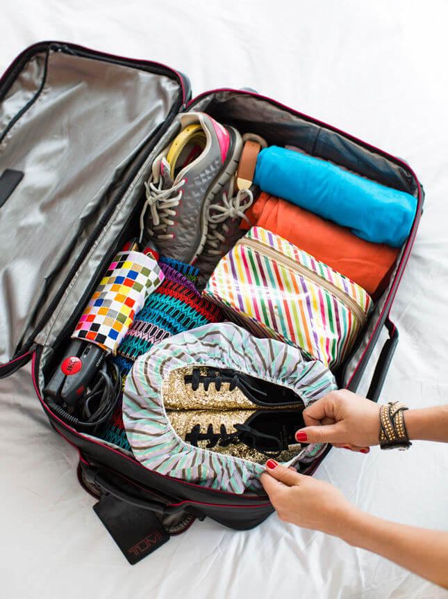 Wrapping your shoes in a shower cap is one of the best luggage hacks