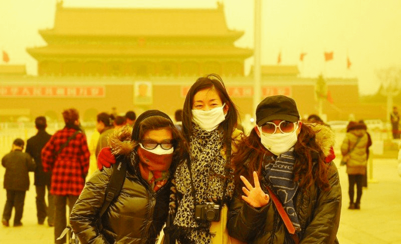 Beijing China The sandstorms contribute to the dust smoke in the city